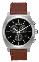 Nixon Time Teller Chrono Leather Watch<br>Black/Saddle