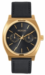 Nixon Time Teller Deluxe Leather Watch<br>Gold/Black Sunray