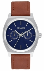 (Sale!!!) Nixon Time Teller Deluxe Leather Watch<br>Navy Sunray/Brown