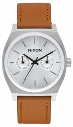 Nixon Time Teller Deluxe Leather Watch<br>Silver Sunray/Saddle