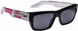 (Sale!!!) Spy Tice Sunglasses<BR>Black-Silver Feathers/Grey