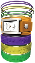 Vestal Electra Jelly Watch<BR>Orange/Silver/White