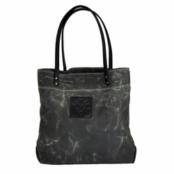 Sandlot x Bunker KCMO Grey/Black Waxed Canvas Tote