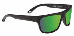 Spy Angler Sunglasses<br>Matte Black/Happy Bronze Polarized w/Green Spectra