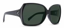 Von Zipper Trudie Sunglasses<BR>Black Gloss/Wildlife Vintage Grey Polarized