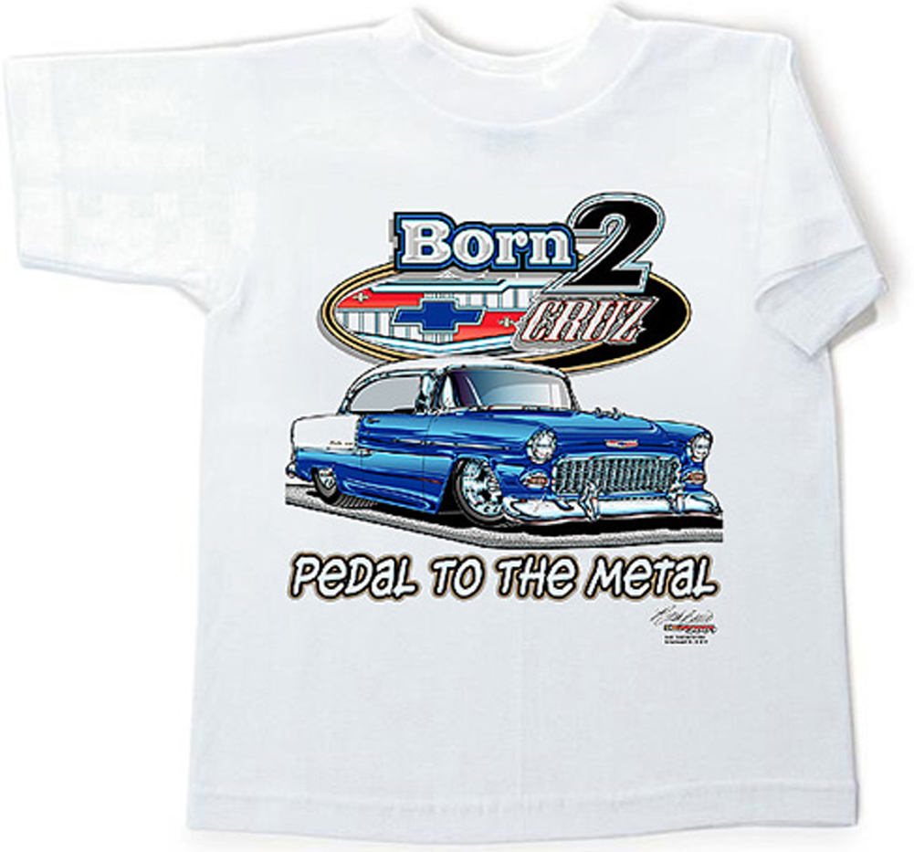 55 chevy kids tee shirt classic car youth clothing