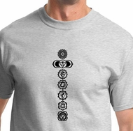7 Chakras Black Print Mens Yoga Shirts