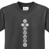 7 Chakras White Print Kids Yoga Shirts
