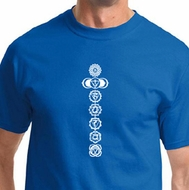 7 Chakras White Print Mens Yoga Shirts