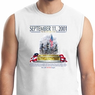 9-11 Never Forget Mens White Muscle Shirt