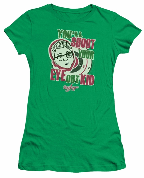 a christmas story juniors shirt youll shoot your eye out green t shirt