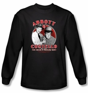 Abbott & Costello Long Sleeve Shirt Bad Boy Adult Black Tee T-Shirt