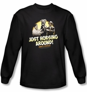 Abbott & Costello Long Sleeve Shirt Horsing Around Black Tee T-shirt