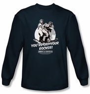 Abbott & Costello Long Sleeve Shirt Off Your Rocker Navy Tee T-Shirt