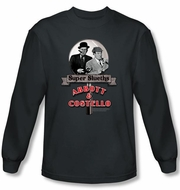 Abbott & Costello Long Sleeve Shirt Super Slueths Charcoal Tee T-shirt