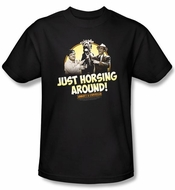 Abbott & Costello Shirt Funny Horsing Around Adult Black Tee T-Shirt
