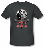 Abbott & Costello Shirt Super Slueths Charcoal Slim Fit Tee T-Shirt