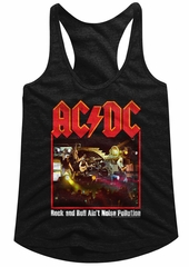 AC/DC Juniors Tank Top Rock And Roll Ain't Noise Pollution Black Racerback