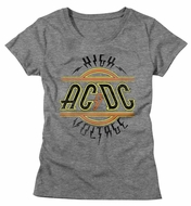 AC/DC Shirt Juniors High Voltage Athletic Heather T-Shirt