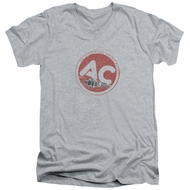 AC Delco Slim Fit V-Neck Shirt Fire Ring Spark Plugs Athletic Heather T-Shirt