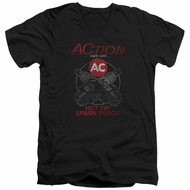 AC Delco Slim Fit V-Neck Shirt Hot Tip Spark Plugs Black T-Shirt