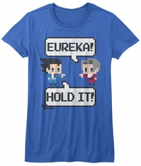Ace Attorney Shirt Juniors Eureka! Hold It! 8 Bit Royal Blue T-Shirt