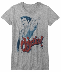 Ace Attorney Shirt Juniors Objection Athletic Heather T-Shirt