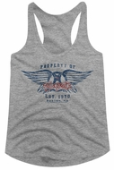 Aerosmith Juniors Tank Top Property Of And Est.1970, Boston, MA  Grey Racerback