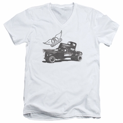 Aerosmith Shirt Slim Fit V-Neck Pump White T-Shirt