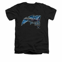 Air Force Shirt Slim Fit V-Neck F35 Lightning II Black T-Shirt