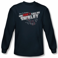 Airplane Shirt Dont Call Me Shirley Long Sleeve Navy Tee T-Shirt