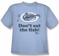 Airplane Shirt Kids Don't Eat The Fish Light Blue Youth Tee T-Shirt