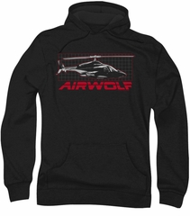 Airwolf Grid Hoodie Sweatshirt Black Adult Hoody Sweat Shirt