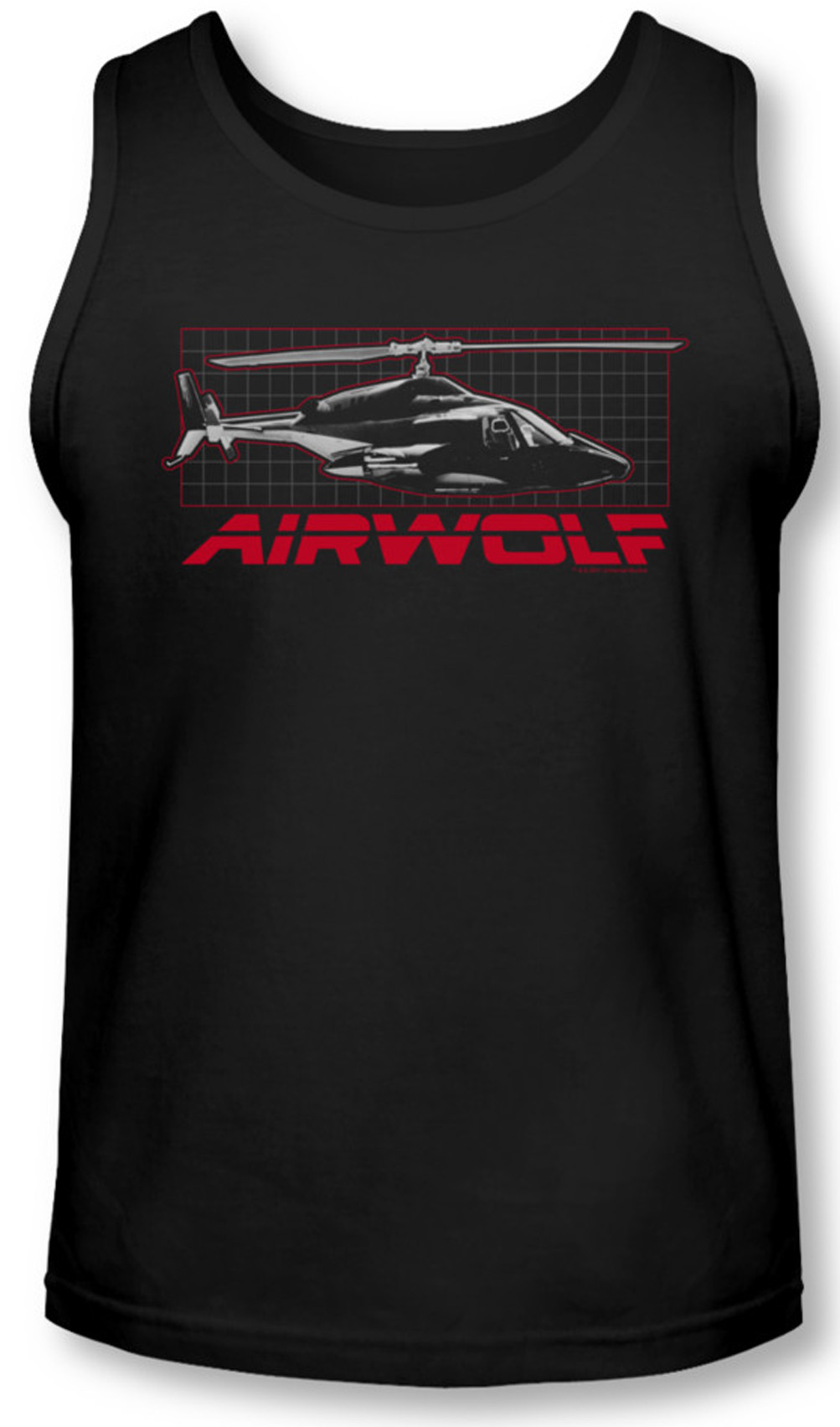 Airwolf Grid Tank Top Shirt Black Tee T Shirt Airwolf