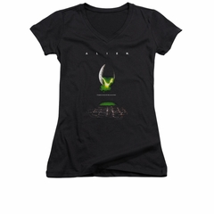 Alien Shirt Juniors V Neck Movie Poster Black T-Shirt