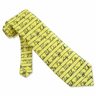 Alphabet Tie Yellow Microfiber Necktie - Mens Occupational Neck Tie