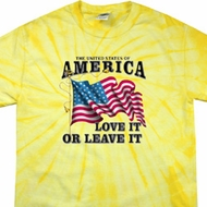 America Love It or Leave It Dandelion Spider Tie Dye Shirt
