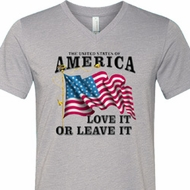 America Love It or Leave It Mens Tri Blend V-neck Shirt