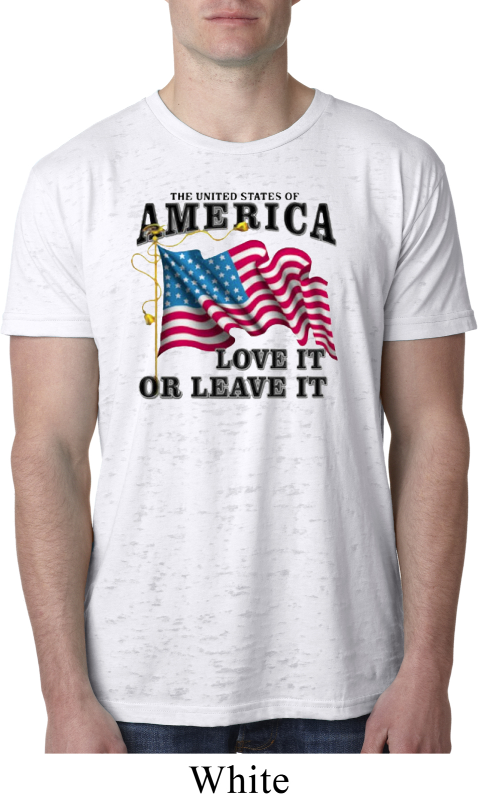 86c9f84552d America Love It or Leave It White Mens Burnout Shirt - America Love It or Leave  It Mens Shirts