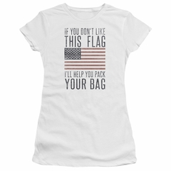 American Flag Juniors Shirt Pack Your Bag White T-Shirt
