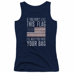 American Flag Juniors Tank Top Pack Your Bag Navy Tanktop
