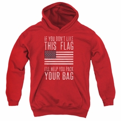 American Flag Kids Hoodie Pack Your Bag Red Youth Hoody