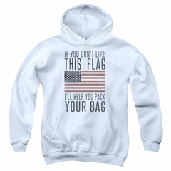 American Flag Kids Hoodie Pack Your Bag White Youth Hoody
