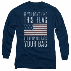 American Flag Long Sleeve Shirt Pack Your Bag Navy Tee T-Shirt