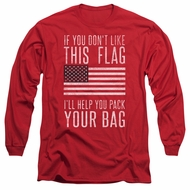 American Flag Long Sleeve Shirt Pack Your Bag Red Tee T-Shirt