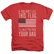 American Flag Shirt Pack Your Bag Heather Red T-Shirt