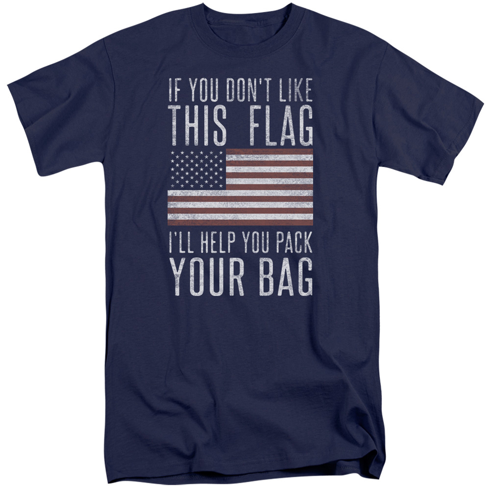 American flag shirt pack your bag navy tall t shirt for Big and tall cool shirts