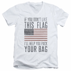 American Flag Slim Fit V-Neck Shirt Pack Your Bag White T-Shirt