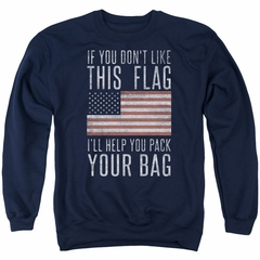 American Flag Sweatshirt Pack Your Bag Adult Navy Sweat Shirt