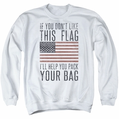 American Flag Sweatshirt Pack Your Bag Adult White Sweat Shirt